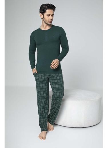 Aydoğan Erkek Modal Altı Ekoseli Üstü Düz Pijama Takımı Renkli